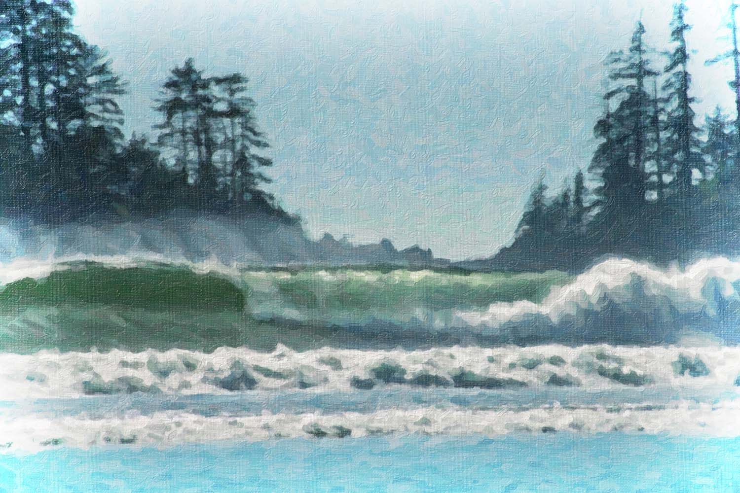 large waves breaking on the shore