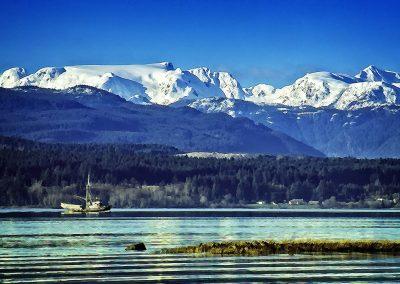 Comox Glacier and Herring Boat