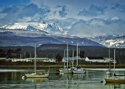 Comox Glacier, Comox Harbour, and boats