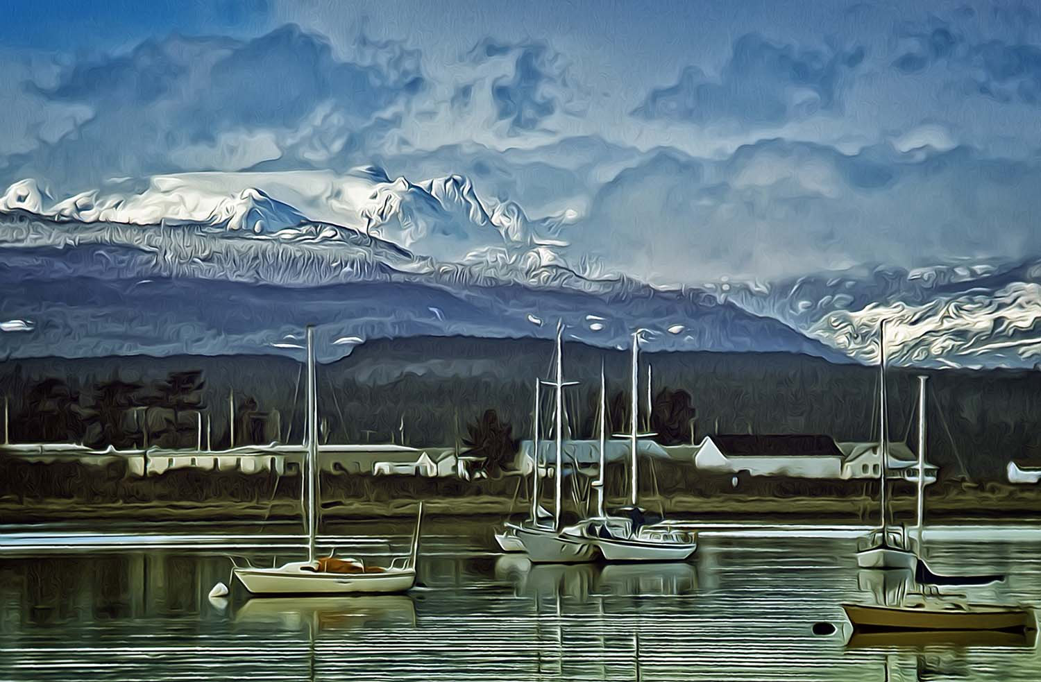 Comox Glacier, Comox Harbour, and boats