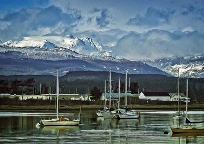 Comox Glacier overlooking Comox Harbor - 24x40 $525