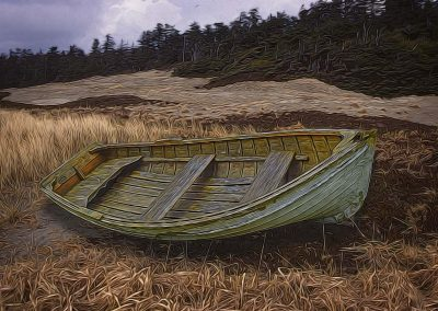 rowboat on grassy dune