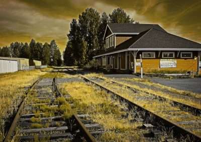 abandoned train station at Courtenay, BC, Canada