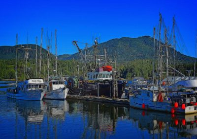 fishing boats docked at Ucluelet Harbour