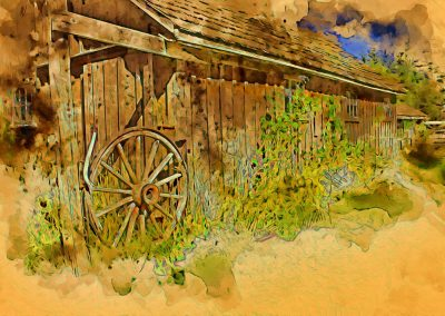 abstract of barn with wagon wheel gate