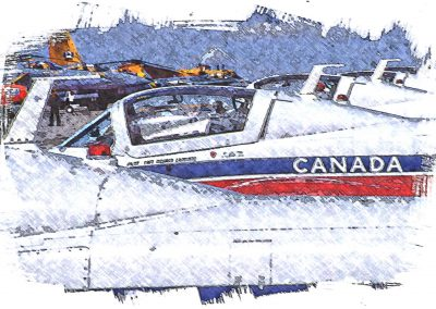 static shot of Canadian Snowbirds airplanes