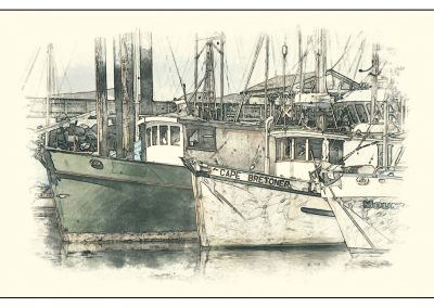 moored fishing boats