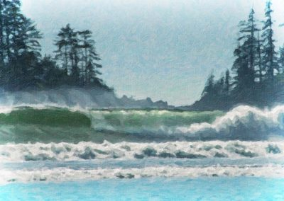 heavy surf on the west coast of Vancouver Island, BC, Canada