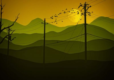digital mountain scene with telephone lines and birds