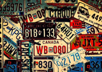 collection of old license plates