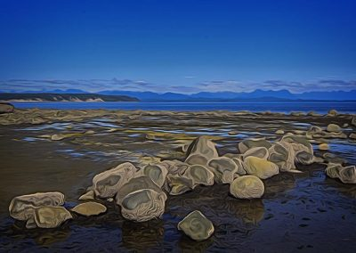 large boulders at low tide