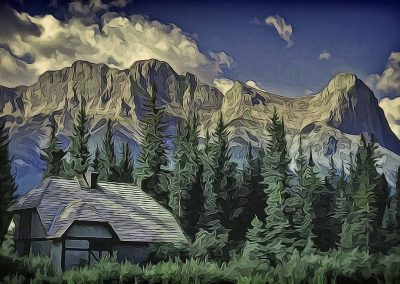 house, trees, and mountains