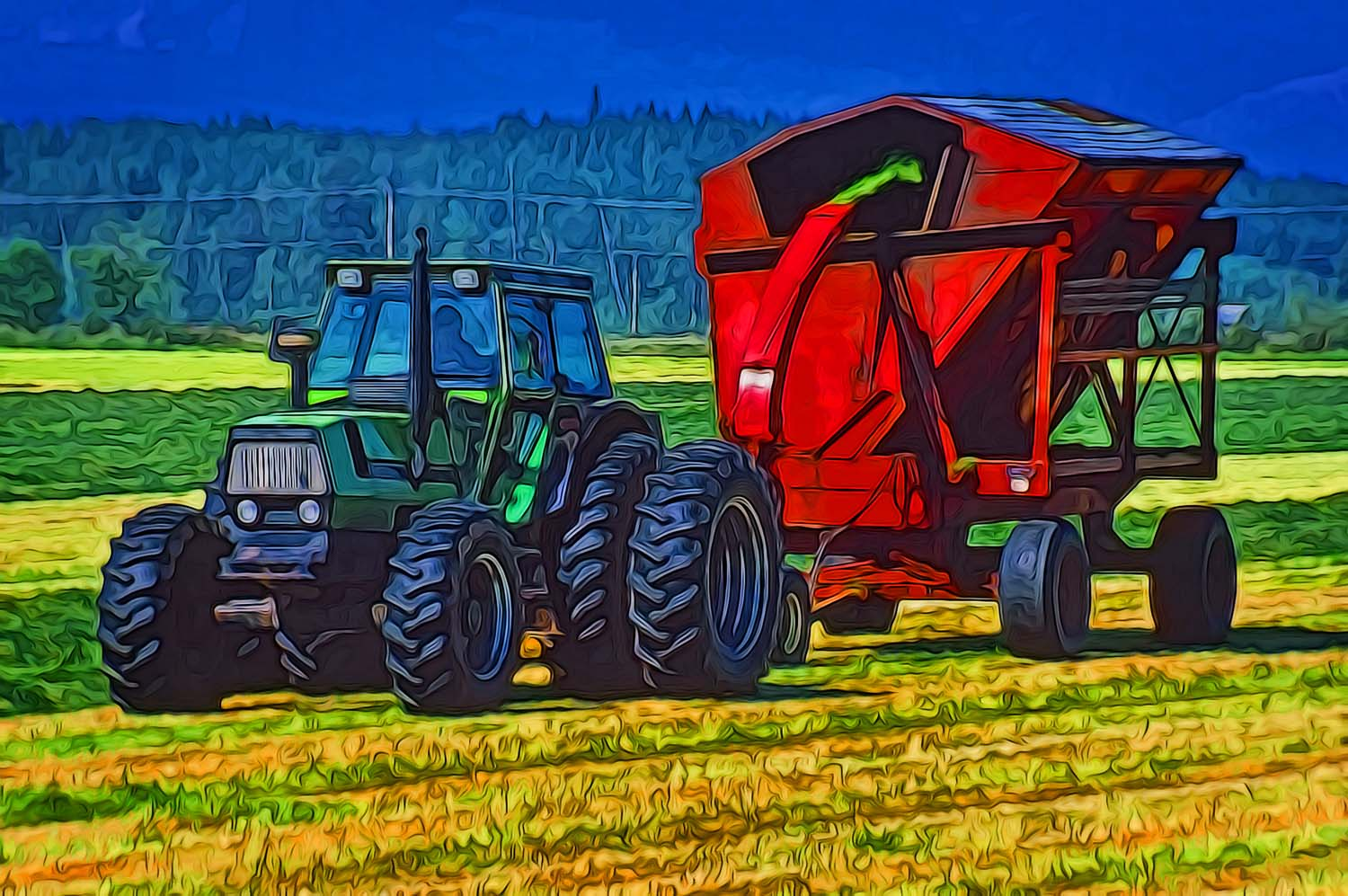 tractor and thresher on farm