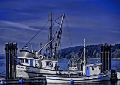 fishing boats at dock at Quadra Island, BC Canada