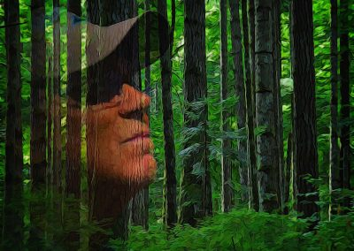 human face superimposed over lush forest