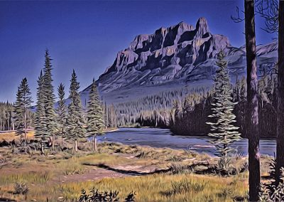 scenic view of Castle Mountain, Alberta, Canada