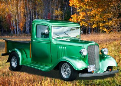 green 1932 Chev pickup