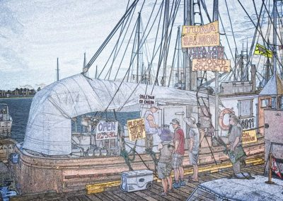 a sketch of a fishing boat selling seafood on the dock