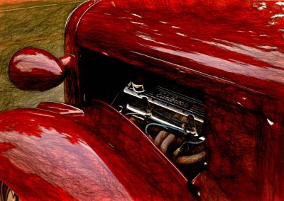 left panel of a classic car
